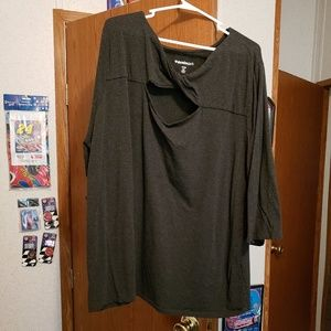 Denim and Co. Charcoal gray twixt top